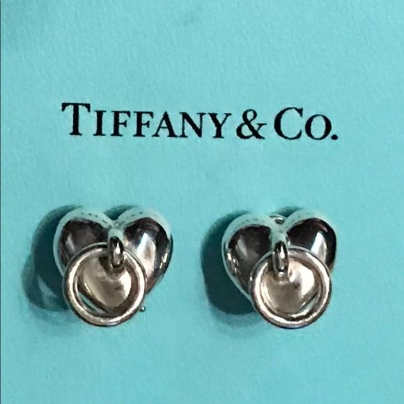 Tiffany & Co Heart Circle Dangle Clip On Earrings